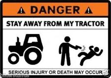 DANGER STAY AWAY FROM MY TRACTOR STICKER BUMPER STICKER