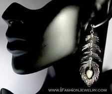 Big Silver Tone Long Peacock Feather Metal Drop Dangle Earrings Fashion Jewelry