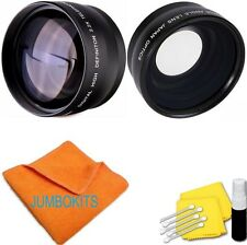 58MM 2x Telephoto +WIDE ANGLE + MACRO + CLEANING KIT FOR CANON EOS REBEL D