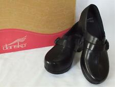 Dansko Tamara Leather Loafer Clogs 38/7.5-8 Black Work Cute Wear w/Slacks Jeans
