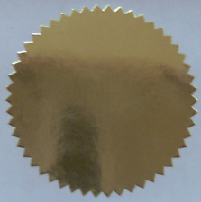 Shiny Gold Foil Notary & Certificate Seals, 2 Inch Dia, Serrated Edge, 100 Seals