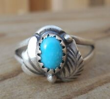 Vtg Antique Native American Carved Leaf Turquoise Sterling Silver Size 6.25 Ring
