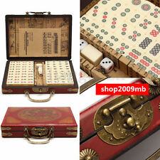 Rare Chinese 144 Bamboo Pieces Mah-Jong Set With Portable Retro Mahjong Box