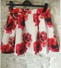 Asos Falda Floral 10 impresión Amapola Roja Y Blanca, sensación de Satén Plisado Skater completo