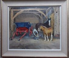 AIR VICE MARSHAL NORMAN HOAD 1923-2014 LARGE ORIGINAL SIGNED OIL 'CART HORSES'