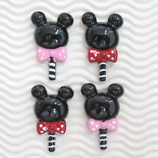 "10 pcs x 1.5"" Resin Flatback Valentine Lollipop Mickey/Minnie Candy w/Bow SB573"