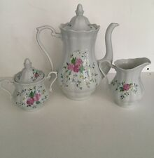 Walbrzych Bone China Poland Tea Set Tea Pot Creamer Sugar Bowl Lot Pink Clematis
