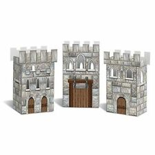 Pack of 3 Castle Favor Box - 8 x 16 cm - Medieval Knight Party Decorations