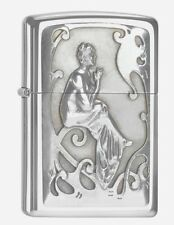 """ZIPPO """"SMOKING LADY"""" 3D POLISHED CHROME LIGHTER WOMAN / 2004499 ** NEW IN BOX **"""