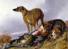 Hand painted Oil painting sleeping hunter & his dogs hounds in landscape canvas