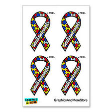 Autism Awareness Puzzle Ribbon - Set of 4 - Window Bumper Locker Sticker