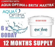 6 x Aqua Optima Evolve 60 Day Filter For Brita Maxtra/Aqua Optima 1 Years Supply