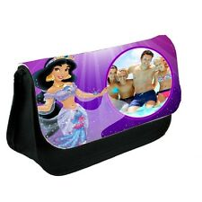 Personalised Photo Disney Princess Jasmine Black Canvas Pencil Case, Make-Up Bag