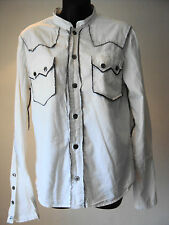"""AllSaints Rock Shirt - White Cotton L/Sleeved Collarless - size S - 36"""" chest"""