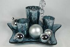 Blue-Silver Candle Holders, Star Plate, 6 Ornaments Set of 11 by Giftcraft  NIB