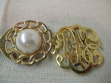 Vintage 2 gold tone Scarf Clips Faux Pearl
