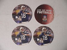 4 Peyton Manning 2006 Direct TV Coasters with White Jersey Sunday Ticket - Mint