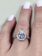 Victoria Wieck Sterling Silver Pear cut simulated diamond ring Sz 7