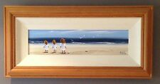 Original Irish Art Oil On Board Painting Children At Seaside By Michelle Carlin