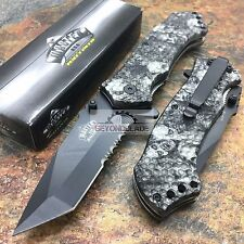 MASTER USA Grey Digital Camo w/ Skull Hunting Rescue Pocket Knife MU-A009GY
