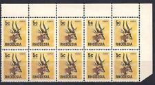 La Rodesia, 1974 defin, 5C Bushbuck, SG 493, MNH blocco di 10, con 2 DIFETTI