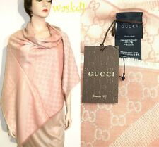 "GUCCI wool/silk Pink/Ivory Monogram Giant 55""-sq scarf PASHMINA shawl NWT Authen"