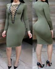 NEW WOMENS LONG SLEEVE LACE UP BUST OLIVE GREEN BODYCON MINI SEXY DRESS--L 22524