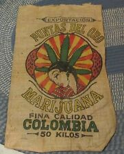 EXPORT OF COLUMBIA PUNTAS DEL ORO MARIJUANA POT WEED 50 KILOS BURLAP SACK BAG