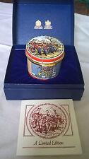 """English Enamel Drum Box by Halcyon Days. Ltd Edition 300. 2.25"""" by 2"""" ZULULAND"""