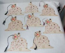 8. GROUP OF 8 BUZZA COMPANY TALLY CARDS / WOMAN WITH ARTISTIC UMBRELLA / DECO