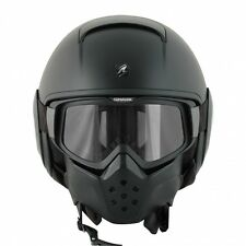 MOTORCYCLE HELMET JET MILITARY RAW SHARK CUSTOM BLACK MATTO VISOR GLASSES SIZE L