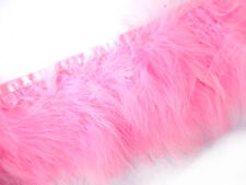 F464 PER 30cm-Light Pink Turkey Marabou Hackle Fluffy Feather Fringe Trim Craft