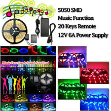 5M 5050 RGB LED Strip Light Sound Activated Music Color Change + Remote+6A Power