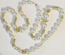 collier rétro bijou vintage perles nacrées déco tortillon couleur or * 5002