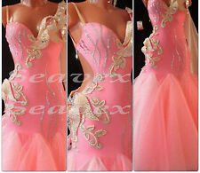 Woman Ballroom Standard Waltz Tango Dance Dress US 10 UK 12 Pink Sliver Color