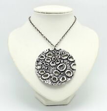 VINTAGE UNSIGNED MID CENTURY MODERNIST GUY VIDAL STYLE PEWTER PENTANT NECKLACE