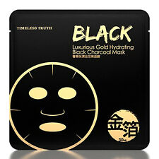 [TT TIMELESS TRUTH] Luxurious Gold Hydrating Black Charcoal Facial Mask 5pcs NEW