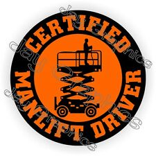 Manlift Driver Hard Hat Sticker | Safety Helmet Decal | Harness Scissor Lift