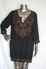 Womans GRETCHEN SCOTT Black & Brown Embroidered Tunic Top Shirt Size XL