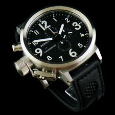 50mm Parnis black dial leather white number Full chronograph Big Face watch 071