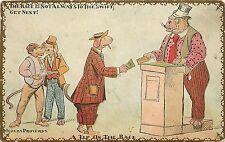 Vintage Embossed Postcard Corrupt Dressed Dog Bribery