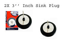 Pack of 2 Stainless Steel Chain Black Rubberized 3'' Inch Diameter Sink Plug