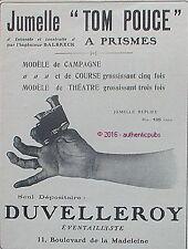 PUBLICITE DUVELLEROY EVANTAILLISTE JUMELLE TOM POUCE A PRISMES DE 1910 FRENCH AD