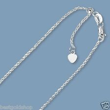 "Up to 22"" Solid Adjustable Rope Chain Necklace Real 10K White Gold 1.0mm"