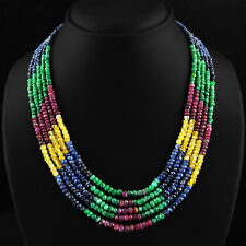 411.75 CTS NATURAL EMERALD, RUBY & SAPPHIRE 5 LINE ROUND CUT BEADS NECKLACE