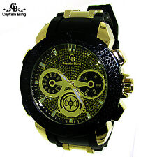 New Men's Hip Hop Fashion Analog Watch Pave Look Stainless Steel Buckle 2167 new