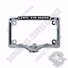 "Show Chrome Metal 3D Eagle 4"" x 7"" License Plate Frame for Touring Motorcycle"