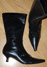 HOT vintage Pointed toe black leather witch punk kitten heel granny BOOTS 8