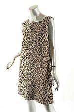 STEVEN STOLMAN Tan/Black/Brown 100% Cotton Animal Print Sheath Dress- US14 - NWT