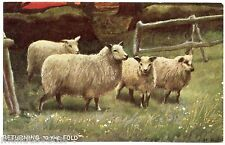 ARTIST . H.B.S. SHEEP. RETURNING TO THE FOLD. MOUTONS. CAMPAGNE